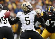 15 NOVEMBER 2008: Purdue quarterback Justin Siller (5) in the first half of an NCAA college football game against Purdue, at Kinnick Stadium in Iowa City, Iowa on Saturday Nov. 15, 2008. Iowa beat Purdue 22-17.