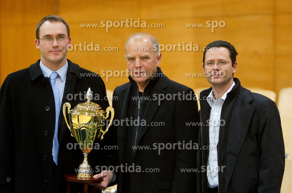 Rasto Oderlap, Herman Rigelnik of ACH and Tilen Rebec of Perftech during volleyball match between ACH Volley and UKO Kropa at Finals of Slovenian Cup 2010, on December 21, 2010 in Dvorana OS, Nova Gorica, Slovenia. ACH Volley defeated Kropa 3-0 and become Slovenian Cup Champion. (Photo By Vid Ponikvar / Sportida.com)
