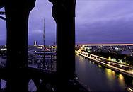 France. Paris. Elevated view on the Seine river. the seine river The eiffel tower, conciergerie roofs  ile de la cite, justice palace, The invalides, The seine river . view from the Conciergerie Bell tower  Paris  France   Paris