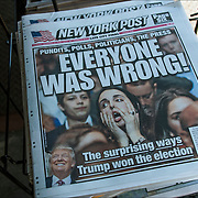 "New York Post newspaper headlines  "" Pundits, Polls, Politicians, The Press  EVERYONE WAS WRONG!"" "" The surprising ways Trump won the election"""