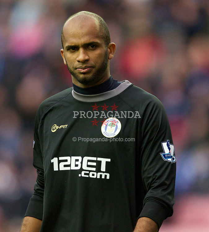 WIGAN, ENGLAND - Saturday, December 3, 2011: Wigan Athletic's goalkeeper Ali Al Habsi during the Premiership match against Arsenal at the DW Stadium. (Pic by Vegard Grott/Propaganda)