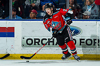 KELOWNA, BC - MARCH 11: Jonas Peterek #27 of the Kelowna Rockets passes the puck during third period against the Victoria Royals at Prospera Place on March 11, 2020 in Kelowna, Canada. (Photo by Marissa Baecker/Shoot the Breeze)