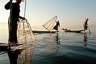 Leg-rowing fishermen on Inle Lake, Myanmar