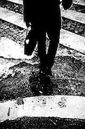 April 2015, Paris. Man on a crosswalk.