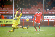 Crawley Town midfielder Enzio Boldewijn (7) scores a goal (score 3-0) during the EFL Sky Bet League 2 match between Crawley Town and Grimsby Town FC at the Checkatrade.com Stadium, Crawley, England on 10 February 2018. Picture by Andy Walter.
