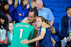 CARDIFF, WALES - Thursday, June 1, 2017: Paris Saint-Germain's goalkeeper Katarzyna Kiedrzynek is consoled after her missed penalty kick in the shoot-out handed victory to Paris Saint-Germain during the UEFA Women's Champions League Final between Olympique Lyonnais and Paris Saint-Germain FC at the Cardiff City Stadium. (Pic by David Rawcliffe/Propaganda)