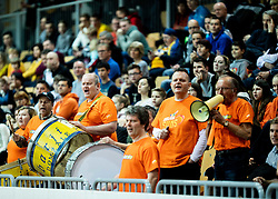 Supporters of Helios Suns during basketball match between KK Hopsi Polzela and KK Helios Suns in semifinal of Spar Cup 2018/19, on February 16, 2019 in Arena Bonifika, Koper / Capodistria, Slovenia. Photo by Vid Ponikvar / Sportida