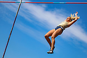 Courtney MACGUIRE competes in the Women's Pole Vault and went on to win bronze with a jump of 4.25m during the Muller British Athletics Championships at Alexander Stadium, Birmingham, United Kingdom on 25 August 2019.
