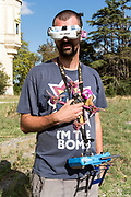 person wearing drone navigation goggles