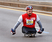 A handicapped racer, New York City Marathon. At the six and a half mile mark. 2006