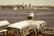 Ferry approaches Taronga Zoo, Sydney.