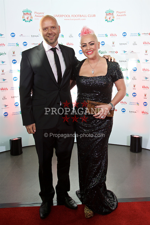 LIVERPOOL, ENGLAND - Tuesday, May 19, 2015: Former Liverpool player Rob Jones and wife arrive on the red carpet for the Liverpool FC Players' Awards Dinner 2015 at the Liverpool Arena. (Pic by David Rawcliffe/Propaganda)