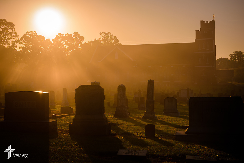 Sunrise over the cemetery at St. John's Lutheran Church, Conover, N.C, on Saturday, April 22, 2017. LCMS Communications/Erik M. Lunsford Sunrise over the cemetery at St. John's Lutheran Church, Conover, N.C, on Saturday, April 22, 2017. LCMS Communications/Erik M. Lunsford