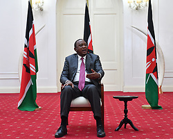 NAIROBI, May 11, 2017  Kenyan President Uhuru Kenyatta speaks during an interview with local and Chinese media in Nairobi, capital of Kenya, May 9, 2017. Uhuru Kenyatta said that the Belt and Road Forum for International Cooperation will inject strong vitality into the Africa-China cooperation. He will attend the forum scheduled for May 14-15 in Beijing, capital of China.  gj) (Credit Image: © Xinhua via ZUMA Wire)