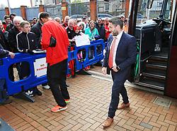 Lee Johnson head coach of Bristol City with Peter Odemwingie arriving at Ewood Park - Mandatory by-line: Matt McNulty/JMP - 23/04/2016 - FOOTBALL - Ewood Park - Blackburn, England - Blackburn Rovers v Bristol City - Sky Bet Championship