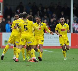 Plymouth Argyle's Carl McHugh celebrates his with team mates - Photo mandatory by-line: Nizaam Jones - Mobile: 07966 386802 - 28/03/2015 - SPORT - Football - Cheltenham - Whaddon Road - Cheltenham Town v Plymouth Argyle - Sky Bet League Two