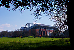 LIVERPOOL, ENGLAND - Saturday, April 14, 2018: Liverpool's Anfield stadium seen from across Stanley Park before the FA Premier League match between Liverpool FC and AFC Bournemouth at Anfield. (Pic by Laura Malkin/Propaganda)