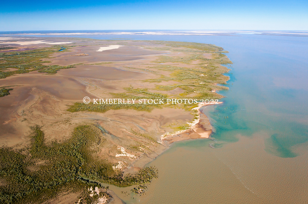 Aerial view over Black Rock, near Point Torment, north of Derby.  Point Torment is the site of a proposed deepwater port for the export of uranium, coal, oil and gas.