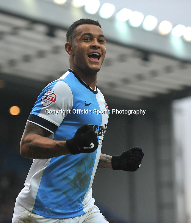 Blackburn Rovers vs Stoke City , FA Cup 5th Round Ewood Park 14/02/2015<br />   Rovers'  Josh King celebrates after scoring the 1st rovers goal<br /> Pic Steve Parkin