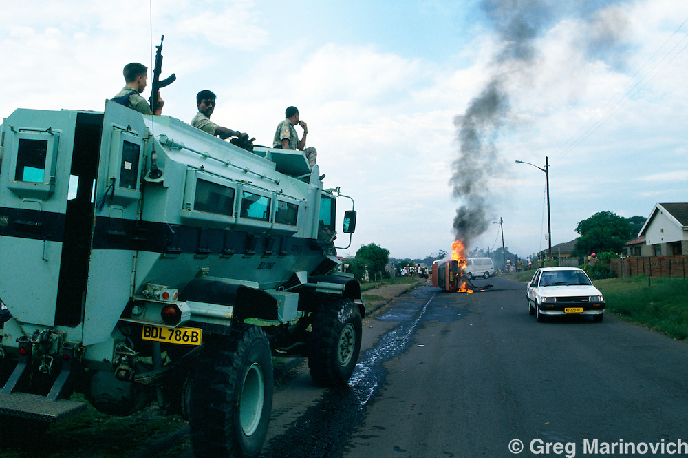 KwaMashu township, KwaZulu Natal, Durban, South Africa. Police armoured vehicle Casspir, during clashes between African National Congress and Inkatha Freedom Party supporters, 1994.