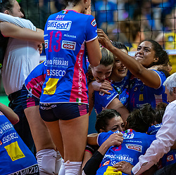 18-05-2019 GER: CEV CL Super Finals Igor Gorgonzola Novara - Imoco Volley Conegliano, Berlin<br /> Igor Gorgonzola Novara take women's title! Novara win 3-1 / Novara celebrate Letizia Camera #3 of Igor Gorgonzola Novara, Celeste Plak #4 of Igor Gorgonzola Novara, Erblira Bici #13 of Igor Gorgonzola Novara, Stefania Sansonna #11 of Igor Gorgonzola Novara, n5/