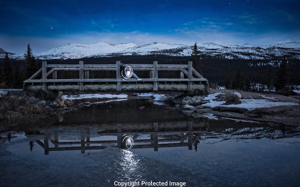 Bow lake in the moonlight., Alberta, Canada, Isobel Springett