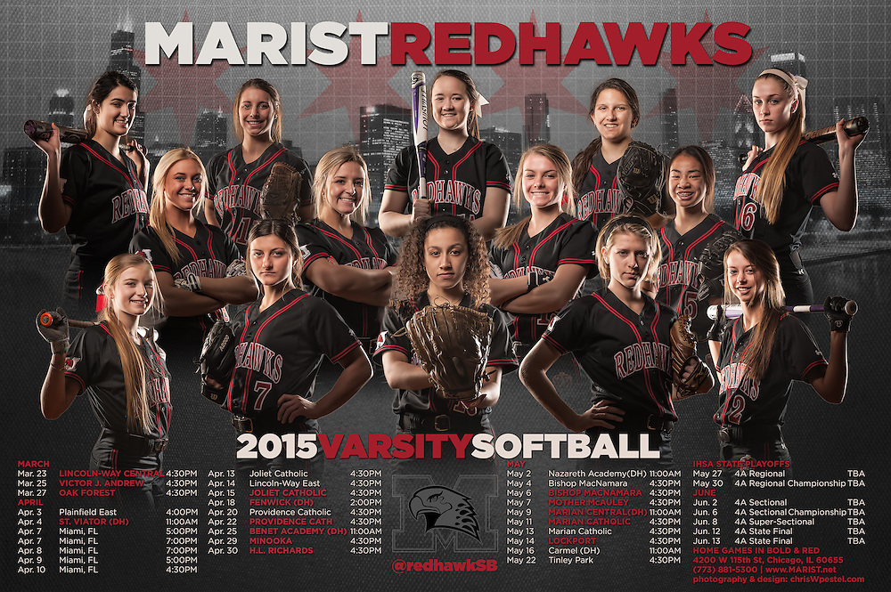 Marist High School Softball Team Schedule Poster. Chicago, IL