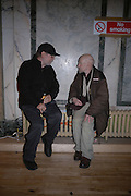 Paul McCarthy and Gustav Metzger. Caribbbean Pirates at the Coppermill  by Paul McCarthy Whitechapel off-Site installation and diner at Shoreditch Town Hall.    22 October 2005. ONE TIME USE ONLY - DO NOT ARCHIVE © Copyright Photograph by Dafydd Jones 66 Stockwell Park Rd. London SW9 0DA Tel 020 7733 0108 www.dafjones.com