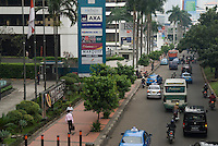 Jakarta golden triangle with signs for big foreign companies, Indonesia. 2009