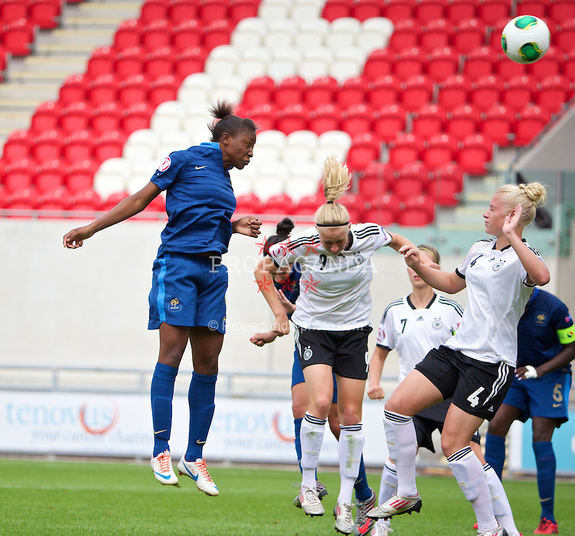 LLANELLI, WALES - Wednesday, August 28, 2013: France's Kadidiatou Diani scores the second goal against Germany during the Semi-Final match of the UEFA Women's Under-19 Championship Wales 2013 tournament at Parc y Scarlets. (Pic by David Rawcliffe/Propaganda)