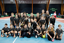 Ball boys during Day 3 of the tennis matches between Slovenia and Monaco of 2017 Davis Cup Europe/Africa Zone Group II, on February 5, 2017 in Tennis Arena Tabor, Maribor Slovenia. Photo by Vid Ponikvar / Sportida