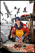 IAN WIGHTMAN, LANGOUSTINE FISHERMAN ON BOARD HIS BOAT OFF LARGS, NORTH AYRSHIRE, SCOTLAND.<br /> <br /> FOR FOOD HEROES.
