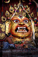 Nepal, Vallée de Kathmandu, Kathmandu, Durbar Square, Masque de Bhairav // Nepal, Kathmandu valley, Kathmandu, Durbar square, Bhairav mask