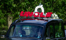 © Licensed to London News Pictures. 05/05/2017. London, UK. The funeral of Westminster Terror attack victim Leslie Rhodes takes place at North East Surrey Crematorium in Morden, South London. Leslie Rhodes, who was Winston Churchill's former window cleaner, suffered serious injuries when terrorist Khalid Masood mowed down and killed 4 pedestrians on Westminster Bridge before attacking and killing a police officer with a knife.  Photo credit: Ben Cawthra/LNP