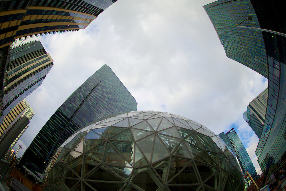 The Amazon Biosphere glass domes down the street from the iconic Space Needle