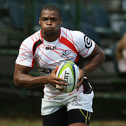 DURBAN, SOUTH AFRICA - S'bura Sithole during the Cell C Sharks training session at Growthpoint Kings Par in Durban, South Africa. (Photo by Steve Haag)
