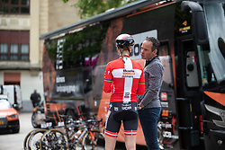 Amalie Dideriksen (DEN) speaks to her Boels-Dolmans Cycling Team DS, Richard Groenendaal (NED) before the 2019 Emakumeen Saria, a 113 km road race starting and finishing in Durango, Spain on May 20, 2019. Photo by Balint Hamvas/velofocus.com