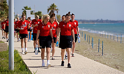 LARNACA, CYPRUS - Thursday, March 1, 2018: Wales' Nadia Lawrence and Hayley Ladd during a team walk around the Palm Beach Hotel & Bungalows in Larnaca on day three of the Cyprus Cup tournament. (Pic by David Rawcliffe/Propaganda)