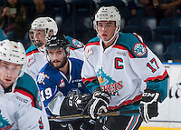 KELOWNA, CANADA - SEPTEMBER 3: Dante Hannoun #19 of Victoria Royals checks Rodney Southam #17 of Kelowna Rockets on September 3, 2016 at Prospera Place in Kelowna, British Columbia, Canada.  (Photo by Marissa Baecker/Shoot the Breeze)  *** Local Caption *** Dante Hannoun; Rodney Southam;