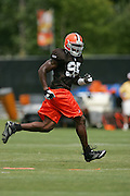 BEREA, OH - AUGUST 3:  Rookie linebacker Kamerion Wimbley #95 of the Cleveland Browns (the Browns first round pick in the 2006 NFL Draft, 13th overall) chases a play during training camp at the Cleveland Browns Training and Administrative Complex on August 3, 2006 in Berea, Ohio. ©Paul Anthony Spinelli *** Local Caption *** Kamerion Wimbley