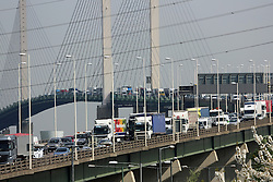 © Licensed to London News Pictures. 17/04/2014. Car tailbacks build at the Dartford Crossing on the M25 on what is expected to be the busiest day for traffic of the year with many people choosing to travel today for Easter holidays Credit : Rob Powell/LNP