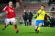 Lewis Kinsella of Kidderminster Harriers on loan from Aston Villa during the Vanarama National League match between Wrexham AFC and Kidderminster Harriers at the Glyndŵr University Racecourse Stadium, Wrexham, United Kingdom on 23 February 2016. Photo by Mike Sheridan.
