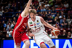 April 29, 2018 - Milan, Milan, Italy - Mindaugas Kuzminskas (#19 EA7 Emporio Armani Milano) drives to the basket during a basketball game of Poste Mobile Lega Basket A between  EA7 Emporio Armani Milano vs VL Pesaro at Mediolanum Forum, in Milan, Italy, on April 29, 2018. (Credit Image: © Roberto Finizio/NurPhoto via ZUMA Press)