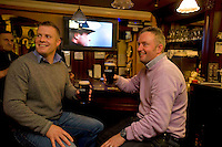 Pictured enjoying a premiere of the new Guinness advertisement, This is Rugby Country, which aired at an special viewing at E Brun, Dominick St, Galway, are Paul McDonagh, Kilkinorien and Paul Fahy Ballybane. Guinness enjoys a long standing relationship with Irish rugby and has been a partner of the IRFU for over 20 years. The new advertisement features real people - not actors or models - and this is one of the key ingredients to the campaign.. Photo:Andrew Downes.