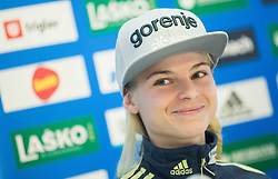 Spela Rogelj during press conference of Slovenian Ski jumping Women team before new season 2015/16, on December 1, 2015 in Cristal palace, BTC, Ljubljana, Slovenia. Photo by Vid Ponikvar / Sportida
