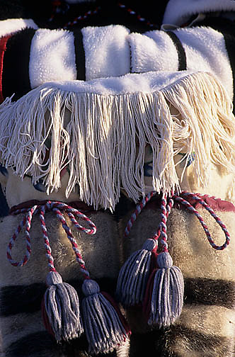 Northwest Territories, known as Nunuvat, Canada. Details of traditional Inuit boots. called Kamiks. Wager Bay.