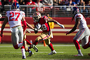 San Francisco 49ers running back Carlos Hyde (28) carries the ball against the New York Giants at Levi's Stadium in Santa Clara, Calif., on November 12, 2017. (Stan Olszewski/Special to S.F. Examiner)
