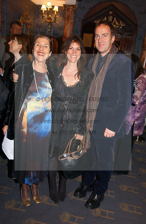Left to right, ANNE MAYER, LISE MEYER and ANGUS DEAYTON he is the TV presenter at a gala evening preview of Noel Coward's play Hay Fever in aid of Masterclass at The Theatre Royal, Haymarket, London on 26th April 2006.<br /><br />NON EXCLUSIVE - WORLD RIGHTS