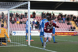 Northampton Town's Brennan Dickenson celebrates scoring the winning goal - Photo mandatory by-line: Nigel Pitts-Drake/JMP - Tel: Mobile: 07966 386802 - 22/02/2014 - SPORT - FOOTBALL - Sixfields Stadium - Northampton - Northampton Town v Hartlepool United - Sky Bet League Two