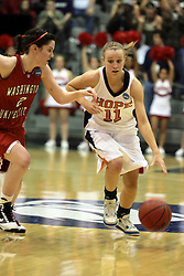 20 March 2010: Alex Hoover pushes the charge of Miranda DeKuiper from mid-court as they come across the center line. The Flying Dutch of Hope College fall to the Bears of Washington University 65-59 in the Championship Game of the Division 3 Women's NCAA Basketball Championship the at the Shirk Center at Illinois Wesleyan in Bloomington Illinois.